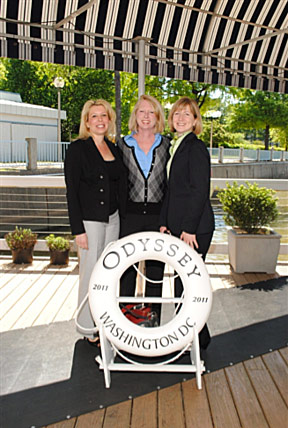 Photo of Linda Kiechlin, Liz Yost, and Nikki Haase at RightStar's Odyssey Cruise event